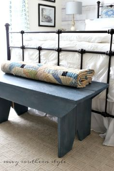 Savvy Southern Style: At the Foot of the Bed, farmhouse style bench, vintage, French farmhouse, iron bed, painted furniture
