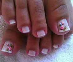 Summer Toe Nails, Pretty Nail Designs, Hair Skin Nails, Toe Nail Art, Erika, Pretty Nails, Hair Beauty, Rose, Style