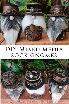 DIY Mixed media Sock gnomes Style Steampunk, Steampunk Crafts, Large Balloons, The Balloon, Halloween Crafts, Holiday Crafts, Crafts To Make, Fun Crafts, Gnome Ornaments