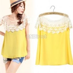 $7.70 New Fashion Womens Top Lace Shoulder Chiffon Vest Sleeveless Casual Yellow Blouse