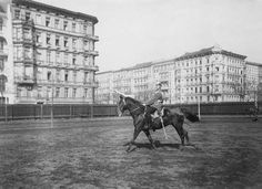 Berlin: Cavalry 1914 2nd Cavalry Division (German Empire) in Berlin-Kreuzberg: A calvary rider with a lance by exercises with a horse
