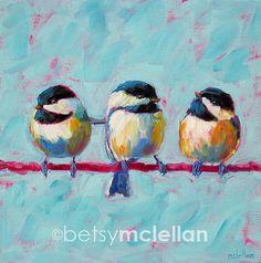 Chickadees - Chickadee Trio - Bird Art - Giclee Print