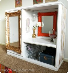 cute idea for old entertainment center. dress up station. i would make it more girly, we already have this mirror!