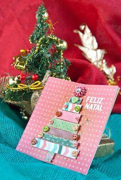 Card with Christmas tree paper, Cartão com árvore de Natal de papel - DIY, Christmas, Craft, Paper