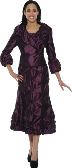 Divine Purple Pin-Tuck Ruffle Dress & Asymmetrical Jacket - Women & Plus Church Suits, Church Dresses, Formal Dresses, Dresses 2014, Holiday Dresses, Special Occasion Dresses, Ruffle Dress, Peplum Dress, Asymmetrical Dress