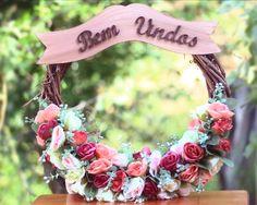 Guirlanda Bem Vindos Rosinhas Rosa e Bege