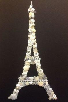 Bonjour ! Button Art, Black Button, Button Crafts, Diy Crafts For Kids, Arts And Crafts, Paris Crafts, Popsicle Sticks, Art Projects, Project Ideas