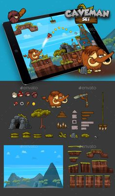Physics Game - Caveman Set - #Game Kits Game #Assets Download here:  https://graphicriver.net/item/physics-game-caveman-set/20169229?ref=alena994