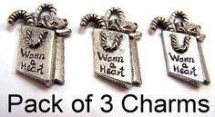 Three Pewter Gift Bag Charms - Free Shipping in the US - (5318) - Charms