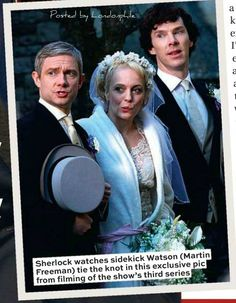 Exclusive photo of Watson tying the knot in sherlock season 3!! Haha love this shot <3