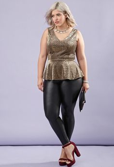 FOREVER 21+ Plus Size Abstract Peplum Top
