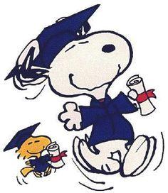 Snoopy, Woodstock, graduation