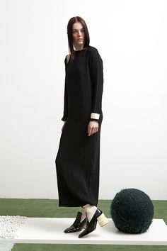 Jacqueline Dress  in black ribbed viscose blend.
