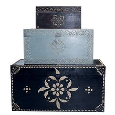 Hand-painted storage boxes