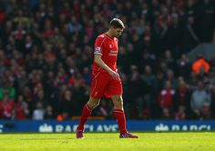 Steven Gerrard of Liverpool leaves the field after being sent off during the Barclays Premier League match between Liverpool and Manchester United at Anfield on March 22, 2015 in Liverpool, England.