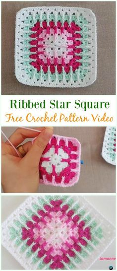 Crochet Ribbed Star Square Free Pattern Video - Square Free Patterns by bertha Granny Square Pattern Free, Crochet Blocks, Granny Square Crochet Pattern, Crochet Squares, Crochet Granny, Crochet Blanket Patterns, Crochet Motif, Diy Crochet, Free Pattern