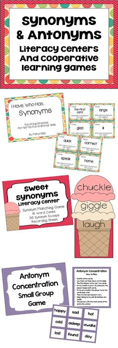 Synonyms and antonyms literacy centers pack - 3 cooperative learning games