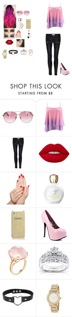 """""""Untitled #238 visiting my husband in the hospital"""" by casslynn25 ❤ liked on Polyvore featuring Minnie Rose, Anine Bing, Lime Crime, Piggy Paint, Versace, Kate Spade, Goshwara, Kobelli, DKNY and Otis Jaxon"""