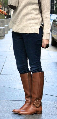 Tory Burch boots and chunky sweater with elbow patches