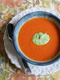 Chilled Tomato Vodka Soup with Pesto Cream
