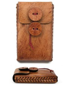 Leather iPhone Case with Baseball stitch detail