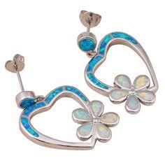 FABULOUS WHITE/BLUE HEART/FLOWER FIRE OPAL  EARRINGS  25 X 15 mm  | eBay