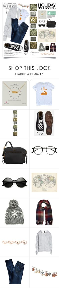 """""""Holiday Travel"""" by hippo14 ❤ liked on Polyvore featuring Dogeared, Garance Doré, Converse, Tumi, Monsoon, Eddie Borgo, 7 For All Mankind, DwellStudio, converse and waystowear"""