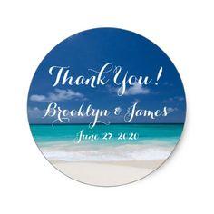 Blue Beach Wedding Stickers
