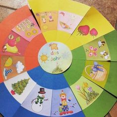 Lying circle for the year, months and seasons children . - My CMS Montessori Education, Kids Education, Special Education, Diy For Kids, Crafts For Kids, Kindergarten Portfolio, Kindergarten Learning, Seasons Activities, Science And Nature