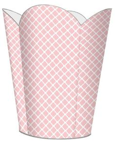 Chelsea Pink Decoupage Wastebasket and Optional Tissue Box