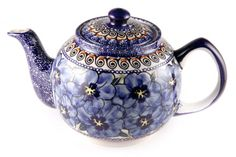 """Blue Art"" Polish stoneware teapot."