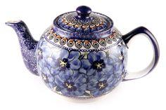 """""""Blue Art"""" Polish stoneware teapot."""