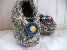 Hand Knit Booties Baby Boy Little Feet by mimimariedesigns on Etsy, $18.00