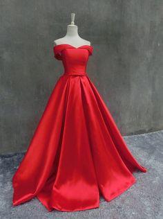 Nouvelle marque Off l'épaule Satin Long bal robes par lilybridal