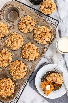 Pumpkin Muffins with Oats and Chocolate Streusel from afarmgirlsdabbles.com