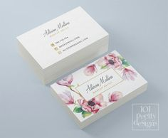 Home Design: Floral business card design, flowers business card template printable business card design watercolor business card, white pink gold Card Templates Printable, Printable Business Cards, Cool Business Cards, Printable Designs, Salon Business Cards, Business Card Templates, Vintage Business Cards, Makeup Artist Business Cards, Creative Business