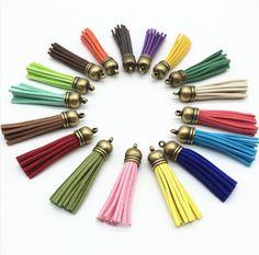 Tassels - 58mm Long Tassels - 10 or 24 Bronze Cap, Assorted Colors, Tassels for Jewelry Tassels - Purse Tassel - KeyChain Tassel - TL-B001 #tasselsforjewelry #keepmaking