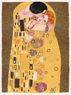 Dixie Leota's interpretation of Gustav Klimt's painting - The Kiss.