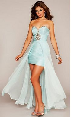 Empire Sweetheart Ruched Bodice And Beading Embelishment Strapless High-Low Prom Dresses/Cocktail /Homecoming Dress P288074