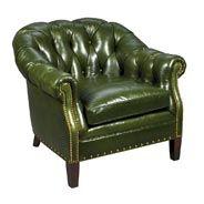 Elegant Green Leather Club Chair