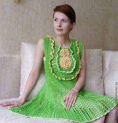 Купить Платье Майская Зелень - ярко-зелёный, платье, Платье нарядное, платье вязаное