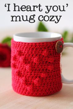 "Are you looking for a quick and easy present? Nothing says ""I love you"" like a handmade heart mug cozy!"