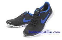 Hombre Nike Free 3.0 V2 Zapatillas (color : vamp - negro , en el interior y logotipo - azul ; sole - blanco)