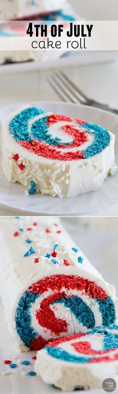 Show off your red white and blue with this festive of July Cake Roll. Your g… Show off your red white and blue with this festive of July Cake Roll. Your guests will be amazed when you cut into it, revealing the patriotic colors. 4th Of July Cake, 4th Of July Desserts, Fourth Of July Food, 4th Of July Party, Holiday Desserts, Holiday Treats, July 4th, Holiday Recipes, Patriotic Desserts