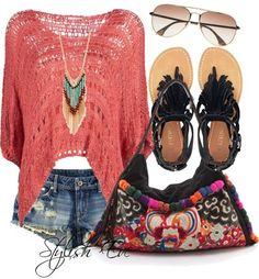 peach summer outfit
