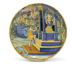 """An Urbino istoriato armorial dish,<br>by the """"painter of the coal-mine dish"""", circa 1545 