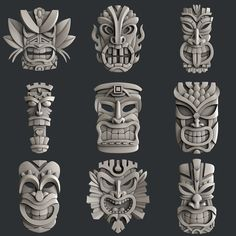 This STL models for CNC set 9 models totems is just one of the custom, handmade pieces you'll find in our digital shops. Tiki Tattoo, Totem Tattoo, Cnc Router, Art Sculpture, Sculptures, Totem Tiki, Maya Art, Totems, Tiki Maske