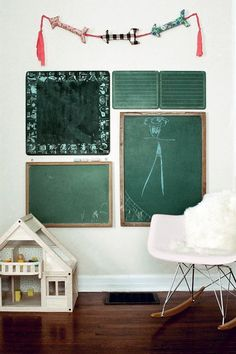 green boards in kids room