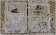 Shabby tattered lace and fabric book by LittleDesertSparrow