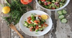 Cucumber Salad with Citrus Dill Dressing - A refreshing light salad with cucumber, tomato, and red onion. Can be used as a side or a meal.